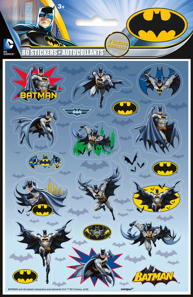 batman sticker sheets includes 4 sheets of 20 stickers