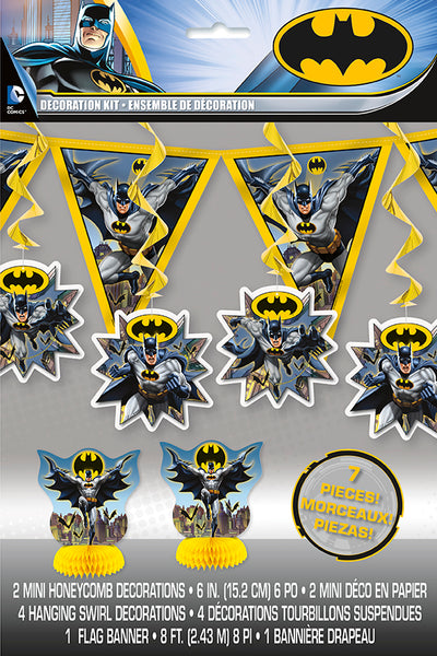 batman 7 piece decoration kit 1 pennant banner, 2 centrepieces and 4 hanging swirl decorations