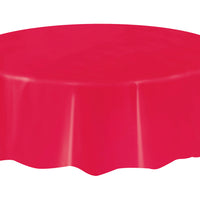 Red Round Plastic Table Cover