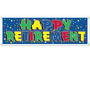 happy retirement banner with blue background and mutlicoloured stars and lettering 5 feet by 21 inches