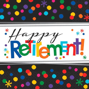 Happy retirement beverage napkins 16 per package