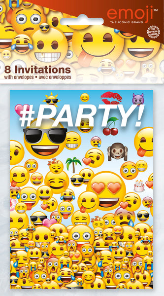 emoji invitations with assorted emojis 8 count in package