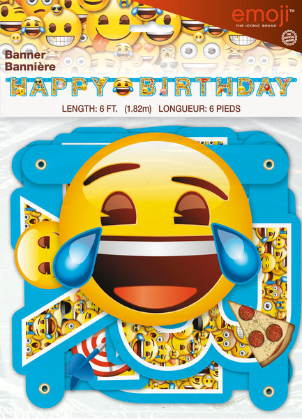 emoji jointed happy birthday banner 6 foot in package
