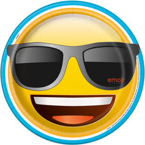 Emoji 9 inch paper plate smiling face with sunglasses