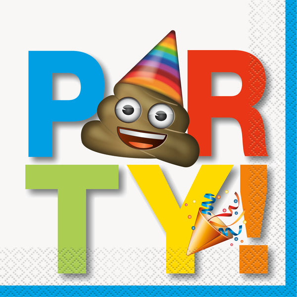 emoji luncheon napkins with the word party and a poop emoji