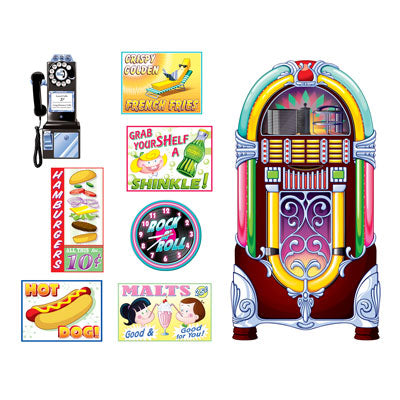 soda shop props 8 per package jukebox clock rotary phone hot dogs milkshake fries