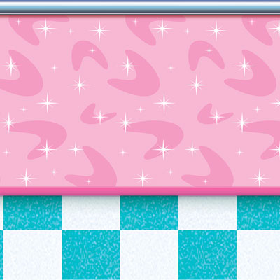 soda shop backdrop, turquoise and white squares on bottom pink on the top