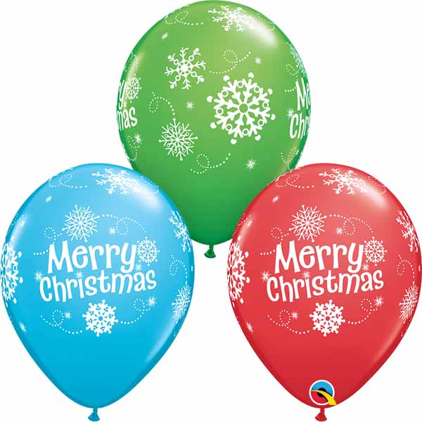 Merry Christmas Snowflakes printed latex balloons