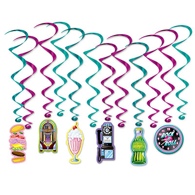 soda shop whirls, 12 per package, 6 plain and 6 with icons clock rotary phone jukebox milkshake hamburger soda pop