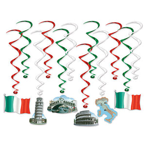 italian whirls 6 with icons and 6 plain flag, colloseum, leaning tower of pisa, flag