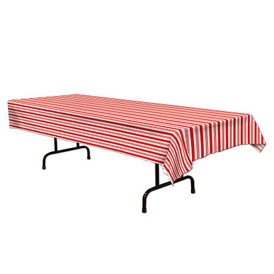 Red and white striped table cover measures 54 inches by 108 inches