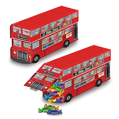 Double Decker bus centerpiece measures 9 inches 1 per package