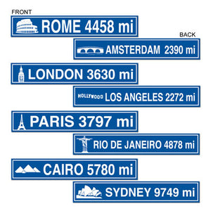 travel street sign cutouts 4 per package, double sided with different designs