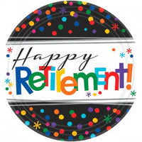 Happy retirement 7 inch plates 8 per package