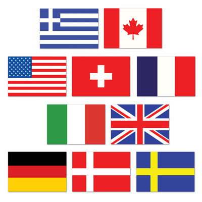 international flag cutouts, double sided 10 per package