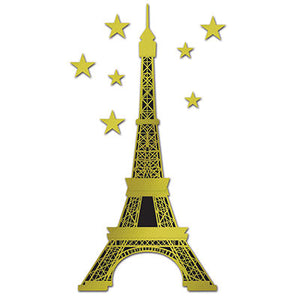 jointed gold and black foil eiffel tower measure 5 feet 10 inches