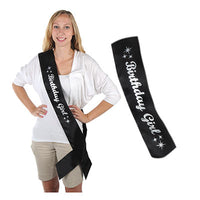 birthday girl black sash with silver glittered letters, 1 per pacakge