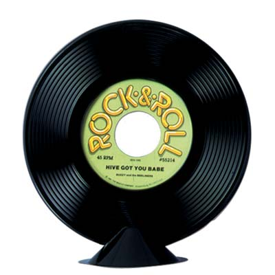 plastic record centrepiece 9 inches one per package