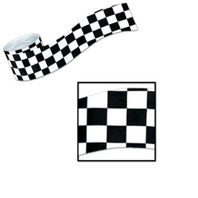 black and white checkered streamers measures 2.5 inches by 30 feet 1 per package