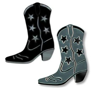 foil cowboy boots silhouette black or silver 16 inches  1 per package
