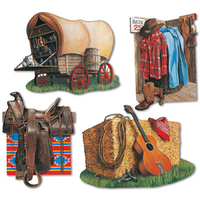 cowboy cutouts covered wagon, hay, western attire and saddle 4 per package