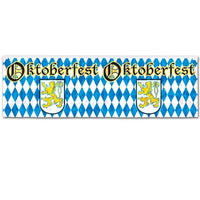 oktoberfest foil fringe banner measures 14 inches by 4 feet