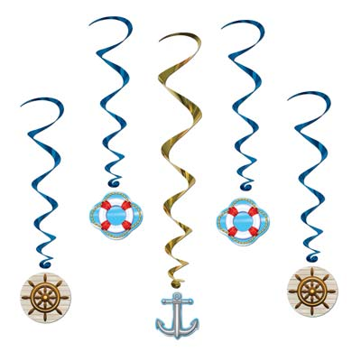 cruise ship whirls ships helm  life preserver anchor 5 per package 40 inches