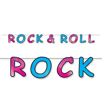 glittered rock and roll streamer 8.5 inches by 8 feet pink and turquoise letters