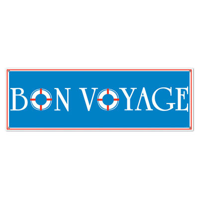 bon voyage banner with life preserver O's 21 inches by 5 feet