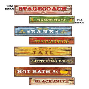 western signs 4 per package 2 sided different designs stagecoach dance hall bank telegraph office jail hitching post hot bath blacksmith