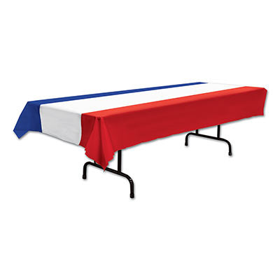 patriotic red white and blue plastic table cover measures 54 inches by 108 inches 1 per package