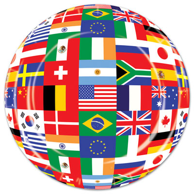 international flags 9 inch plates 8 per package