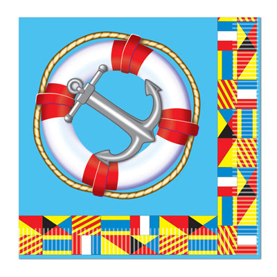 nautical luncheon napkins with anchor life preserver and nautical flags 16 per package