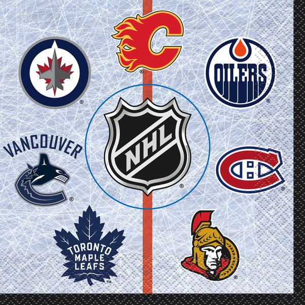 NHL luncheon napkins featuring logos of 7 Canadian teams 16 count