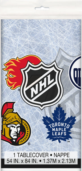 NHL plastic tablecover with logos of 7 Canadian teams measures 54 inched by 84 inches