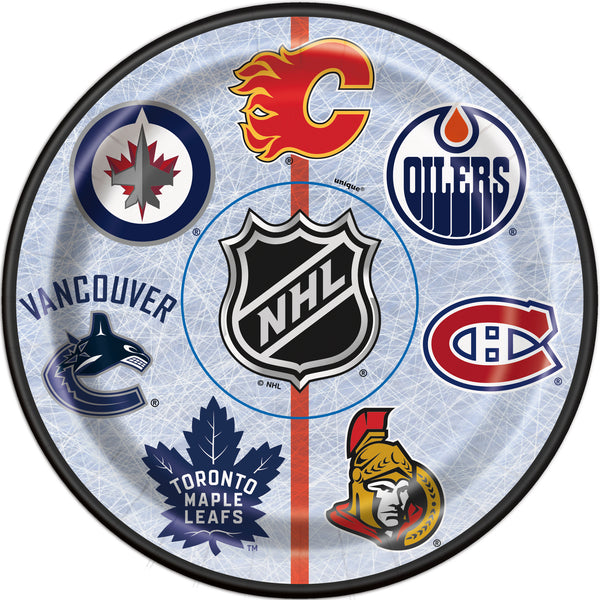 NHL 7 inch paper plates featuring logos from 7 Canadian teams