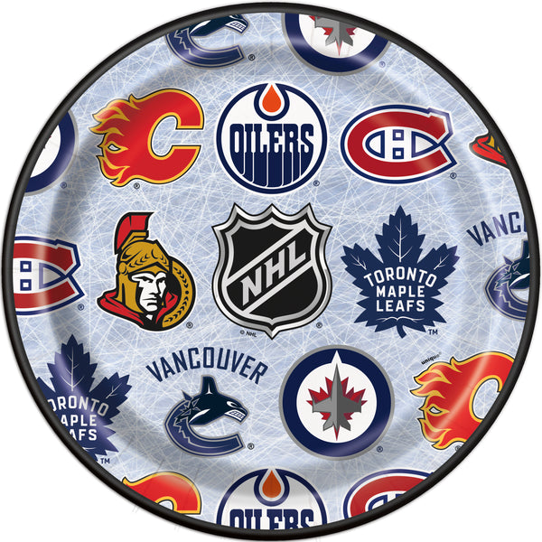 NHL 9 inch paper plates featuring logos of 7 Canadian teams 8 count