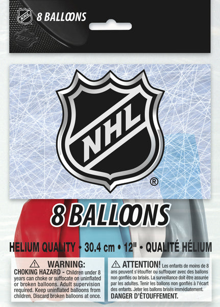NHL logo latex balloons red blue white silver 8 count package