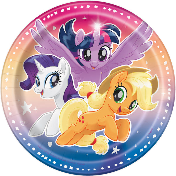 my little pony 7 inch plates, 8 per package