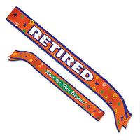 retired now the fun begins satin sash 4 inches by 33 inches