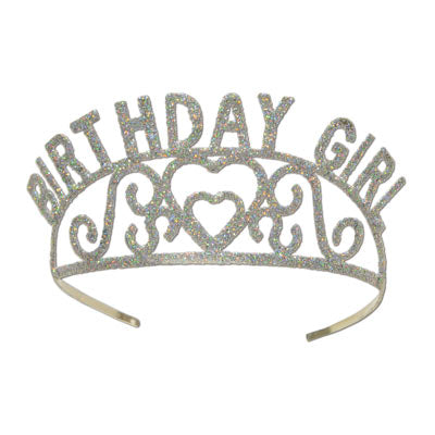 silver glittered birthday girl tiara, 2 attachable combs included, 1 per package