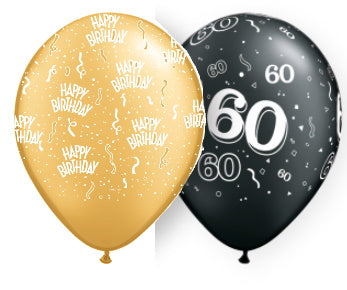 gold birthday and black 60th assorted latex balloons