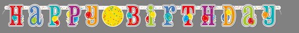 multi-coloured jointed happy birthday banner with stickers, measures 7 feet, 1 per package