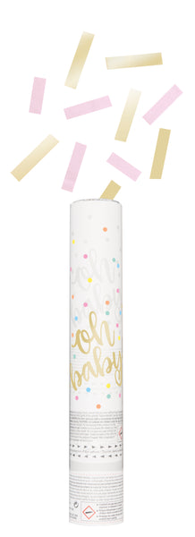 Pink and gold baby shower confetti cannon