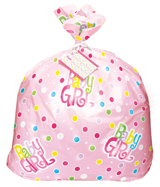 pink dots baby shower jumbo plastic gift bag