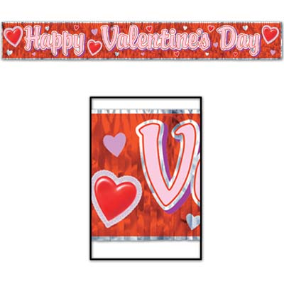 Valentine's Day Metallic fringed 5' Banner