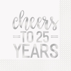 cheers to 25 years luncheon napkins, 16 count