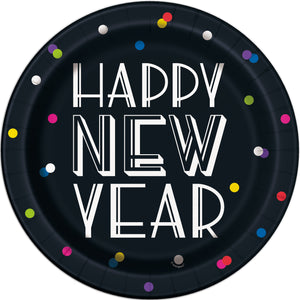 Happy New Year Party paper plates with neon dots