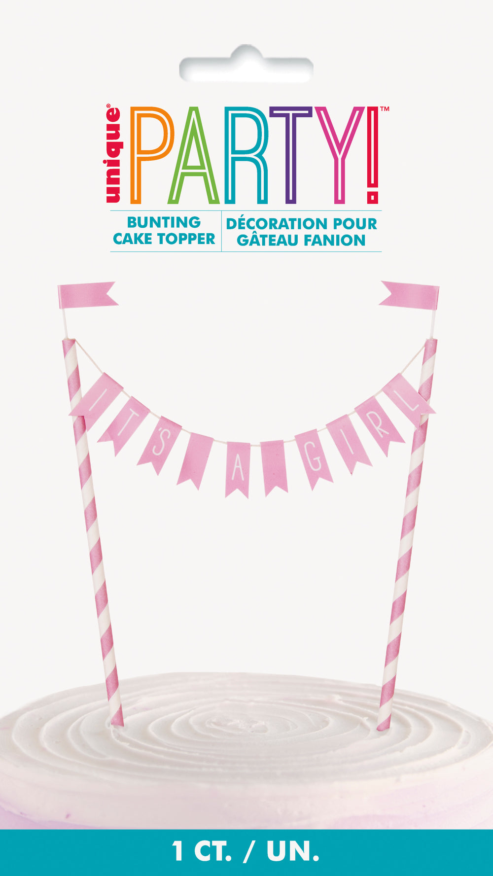 its a girl bunting cake topper