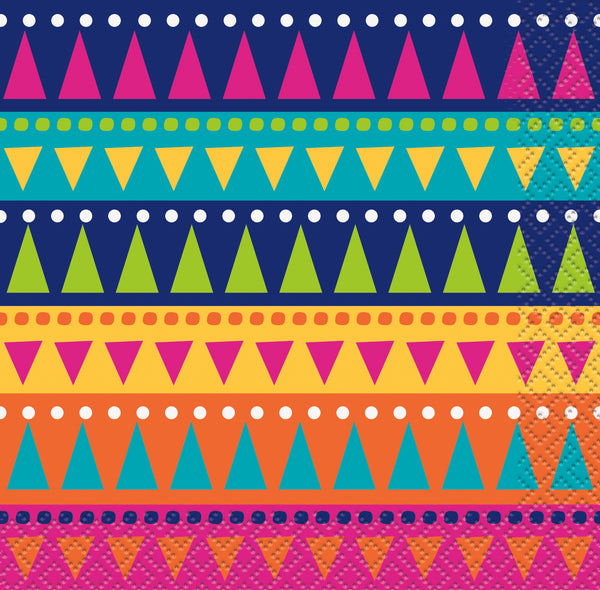 multi-coloured fiesta themed beverage napkins 24 count